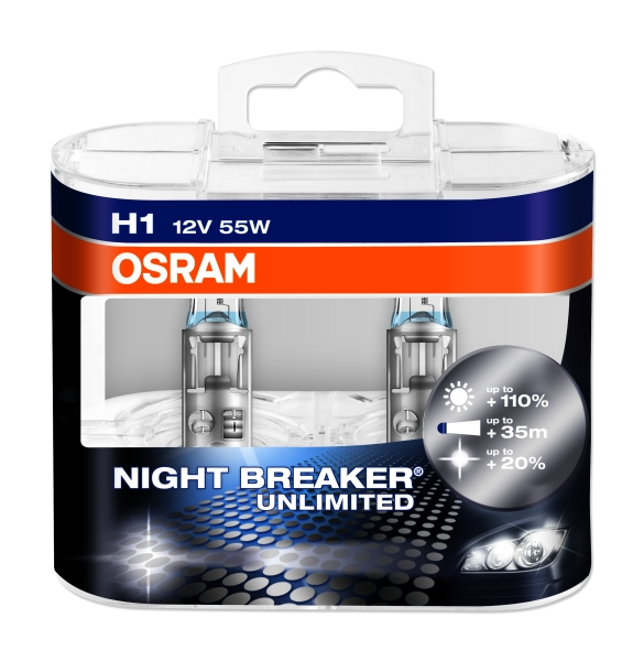 Esitule pirn 12V OSRAM H1 Night Breaker Unlimited 2tk